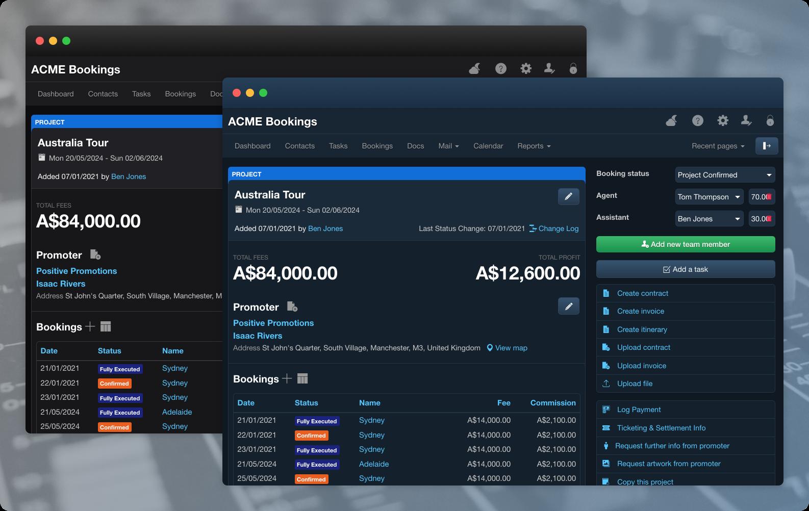 Overture Booking Agency Software Dark Mode Improvements