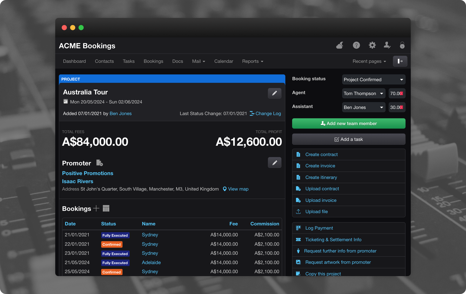 Overture Booking Agency Software Darkmode